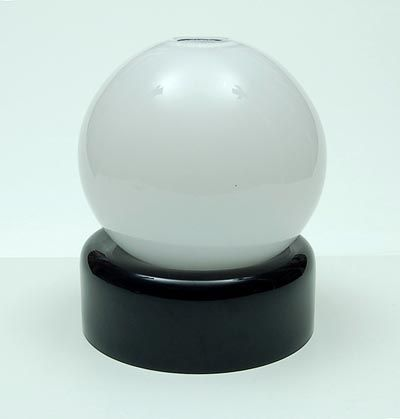 Unica vase white glass ball with clear glass overlay on deep purple fixed stand design Floris Meydam 1978 executed by Leerdam / the Netherlands