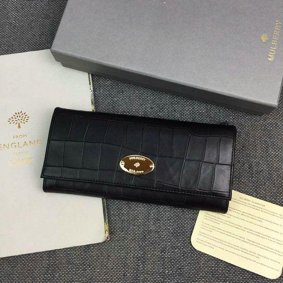 b7e0de041c 2016 Latest Mulberry Continental Wallet Black Deep Embossed Croc Print