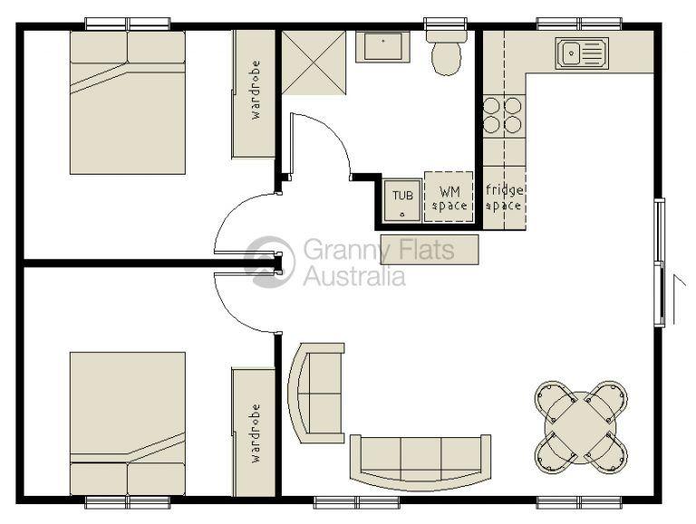 2 Bedroom Granny Flat Granny Flats Australia Small House Plans Tiny House Plans Bedroom House Plans