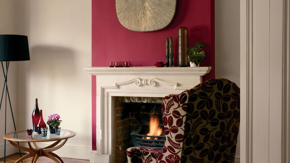 Statement Wall Dulux Redcurrant Glory And Natural Hessian Feature Wall Living Room Living Room Red Living Room Color