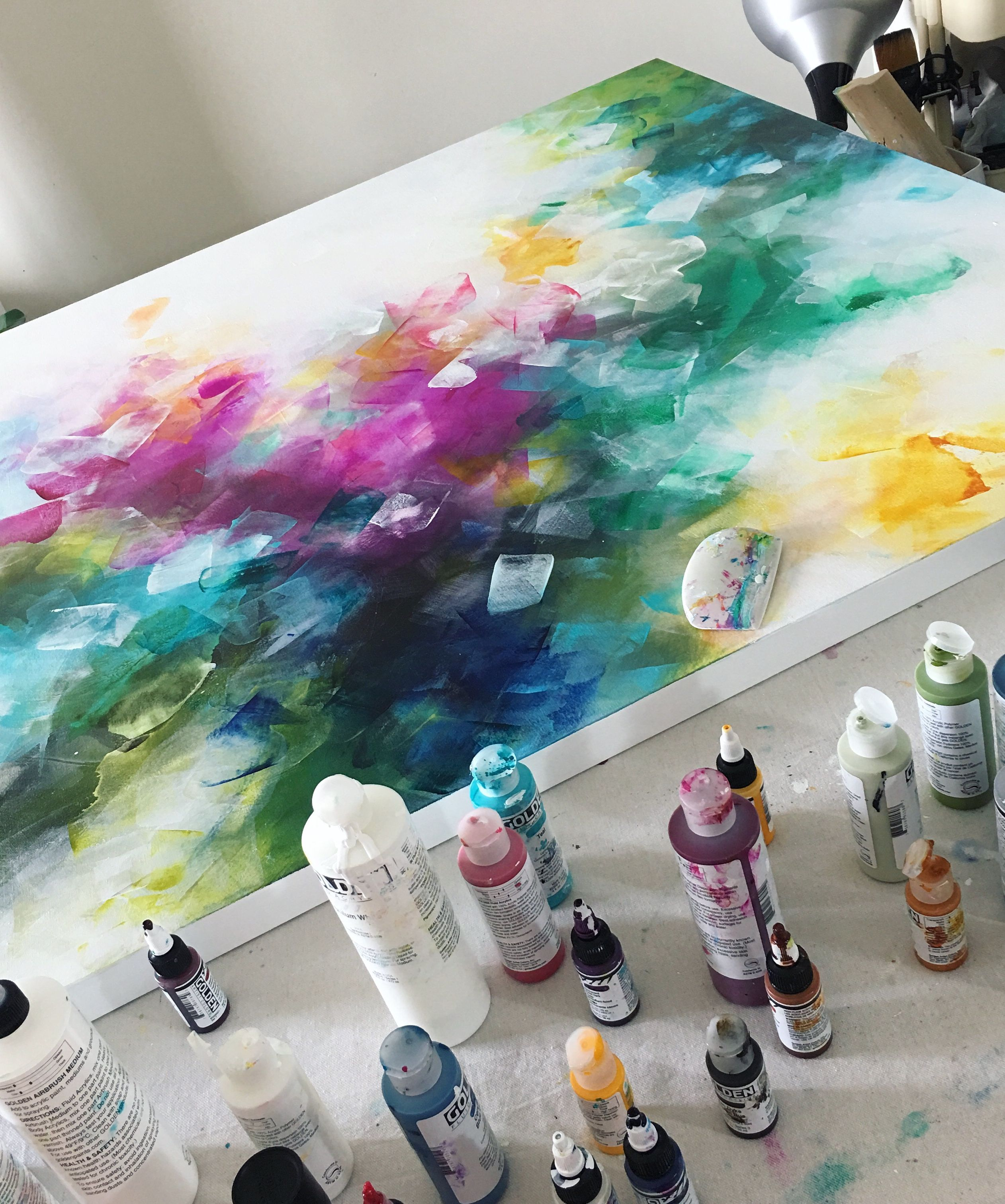Colorful Layers Using Fluid Acrylic Paint And The Catalyst