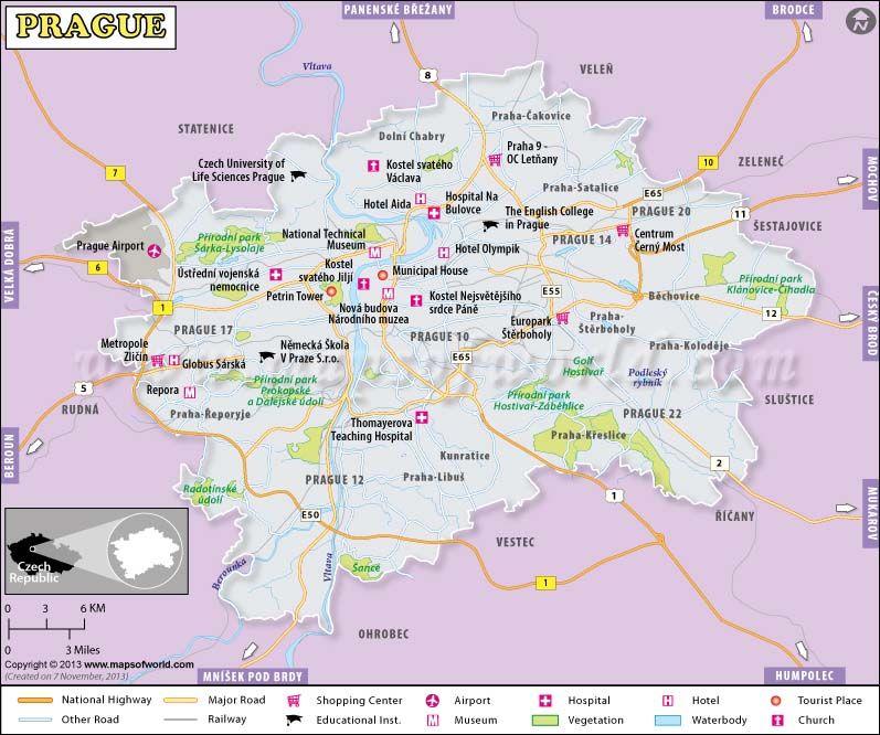 Prague map the capital city of czech republic shows the for Prague location