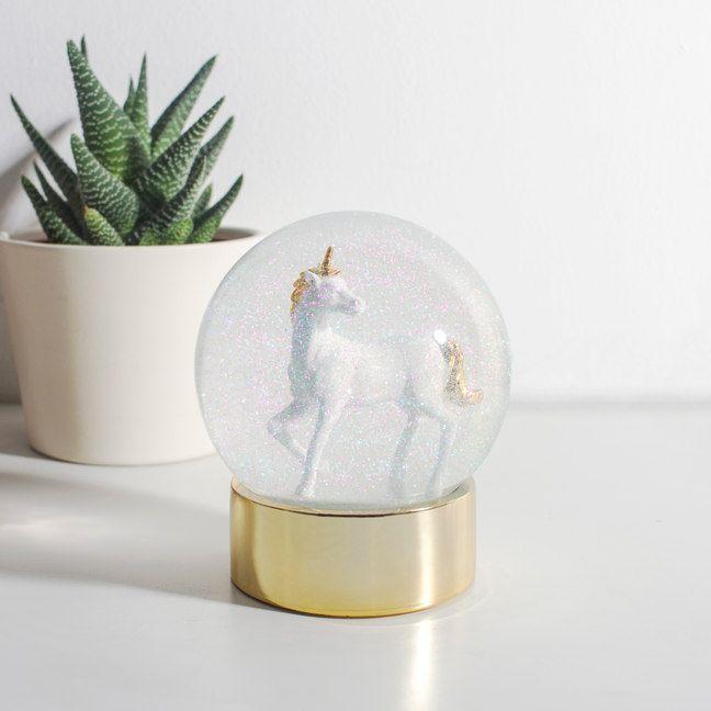 Unicorn Snow Globe Boule De Neige Objet Deco Deco