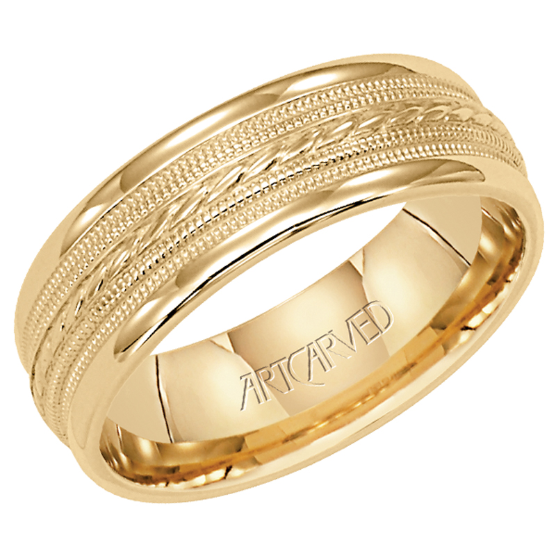 Artcarved Yellow Gold Detailed Mens