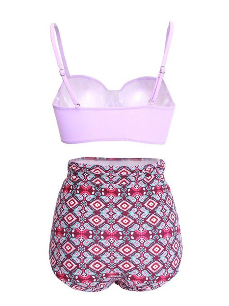 35ed3d92a ELEOPTION 2018 New Fashion Sexy High Waisted Swimsuit Bikini Set Womens  Halter Push Up Padded Bikini Top