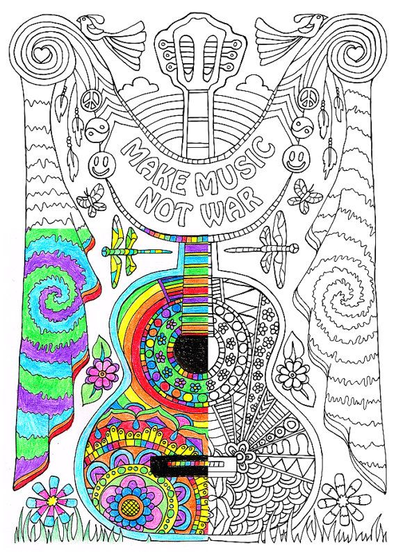 Coloring Page For Adults Make Music Printable By CandyHippie The Top Books And Writing Utensils Including Colored Pencils Gel Pens