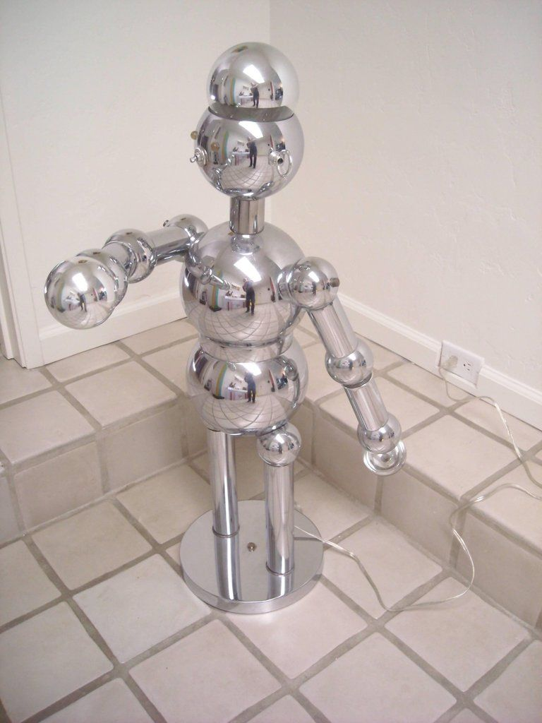 Torino Large Robot Chrome Lamp Sculpture Chrome Lamp Lamp Chrome