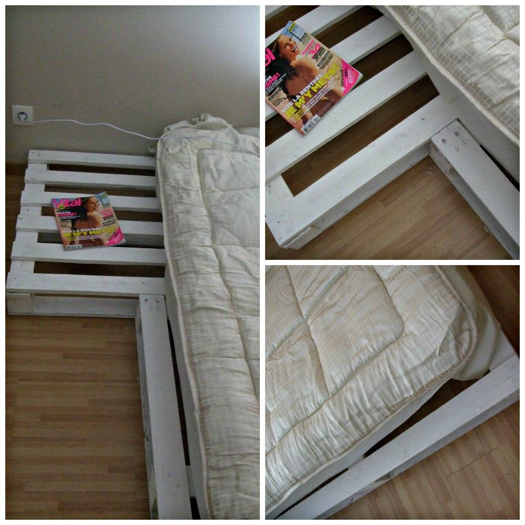 Bed with recycling wooden pallets lit avec sommier en - Chambre en palette ...