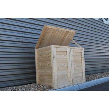 cache poubelle double en bois lokka naterial 1 2 m. Black Bedroom Furniture Sets. Home Design Ideas