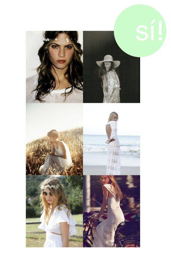 Novia, hippy, bride, boda, blanco, inspiracion, wedding, http://sialsiquiero.wordpress.com/