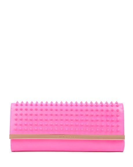 Studded metal bar clutch - Mid Pink   Bags   Ted Baker