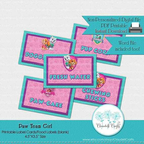 food tent labels in pink and teal instant printable download