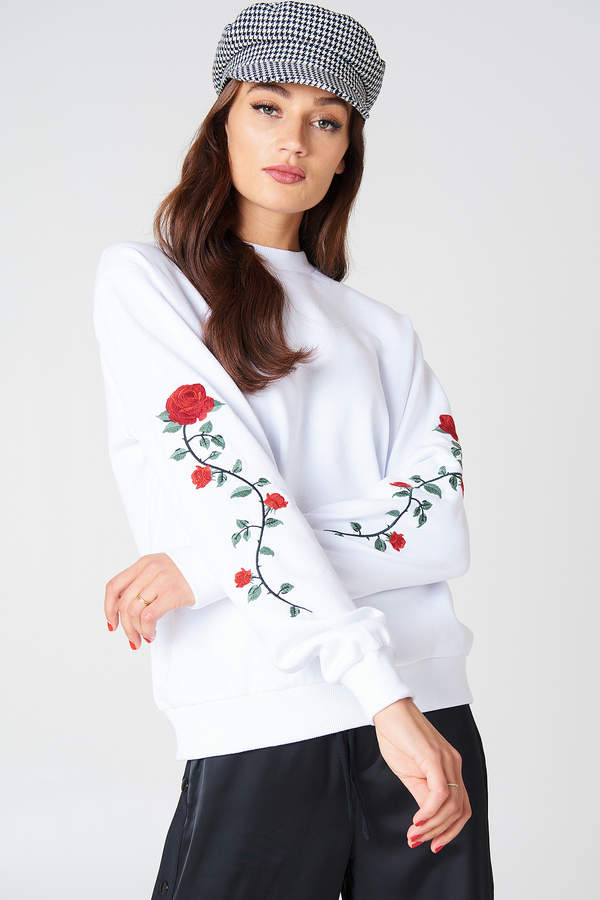 Na-Kd Rose Embroidery Sleeve Sweater in Black - Save 25%