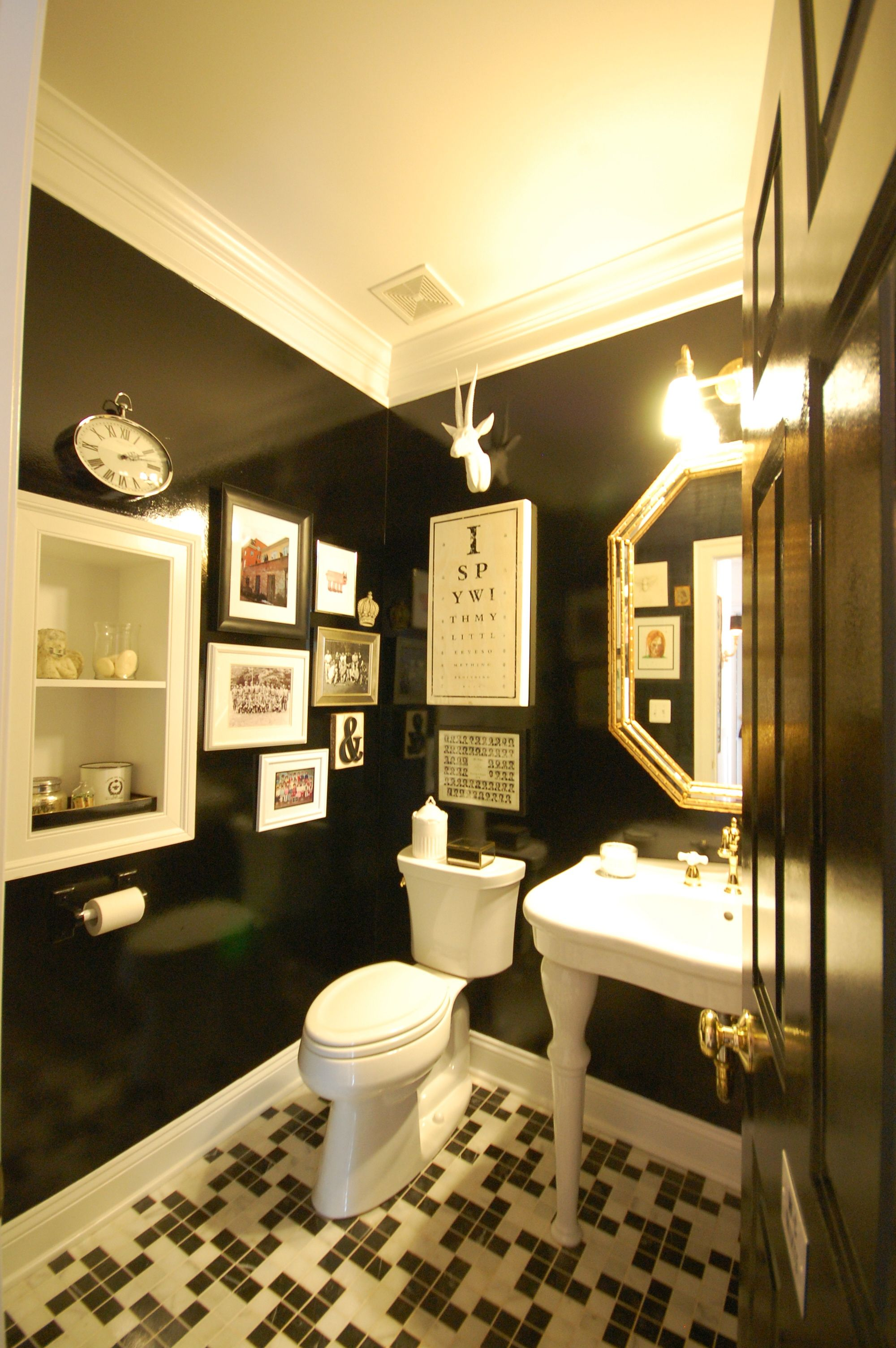 Black bathroom; brass fixtures, & houndstooth tile floor. [Sarisand ...