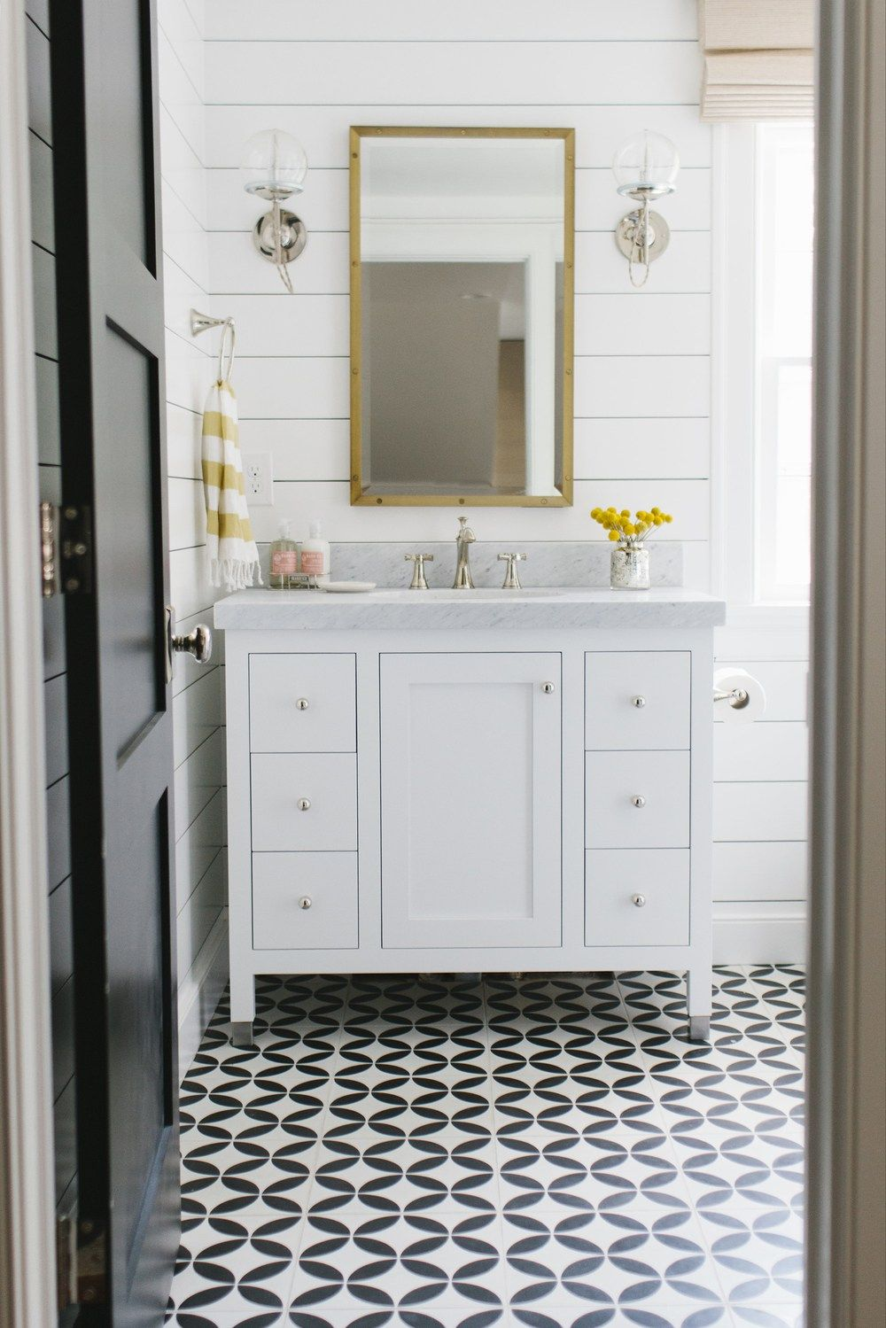 Black and White Tile Bathroom Floors | Studio mcgee, Cement and ...