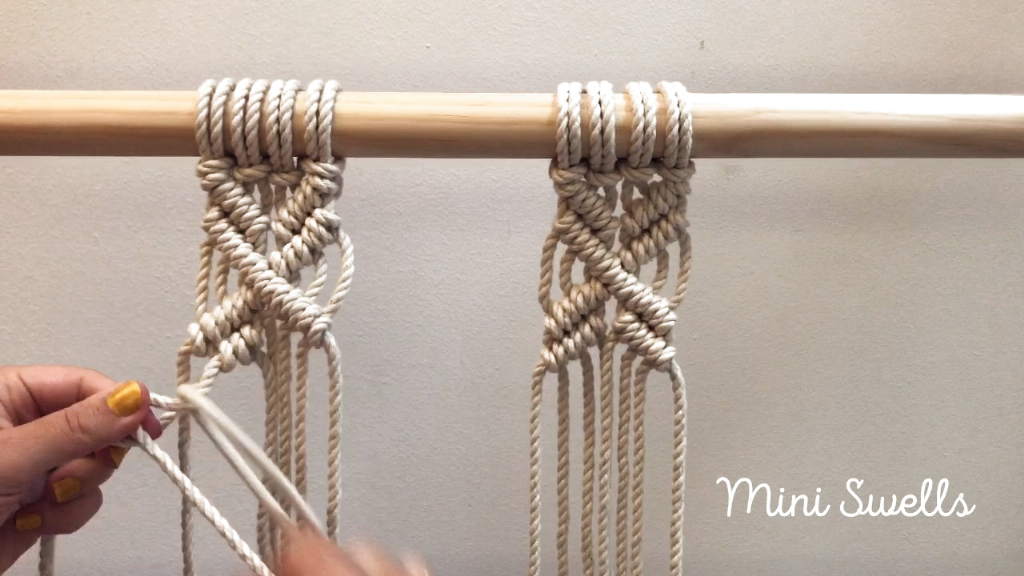 Such a fun pattern to add to any Macramé project. For more inspiration or fiber art supplies check out our shop. #macrame #macramewallhanging #macrametutorial #macrameknots #macrameplanthanger #macrameart #macramépattern #macramemakers #macramecord #macrameartist #diyhomedecor