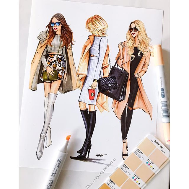 Fashion illustrations of street fashionistas by Houston fashion illustrator Rongrong DeVoe. More of her fashion sketches please visit www.rongrongdevoe.com  #fashionillustration #fashionillustrator #Rongrongdevoe