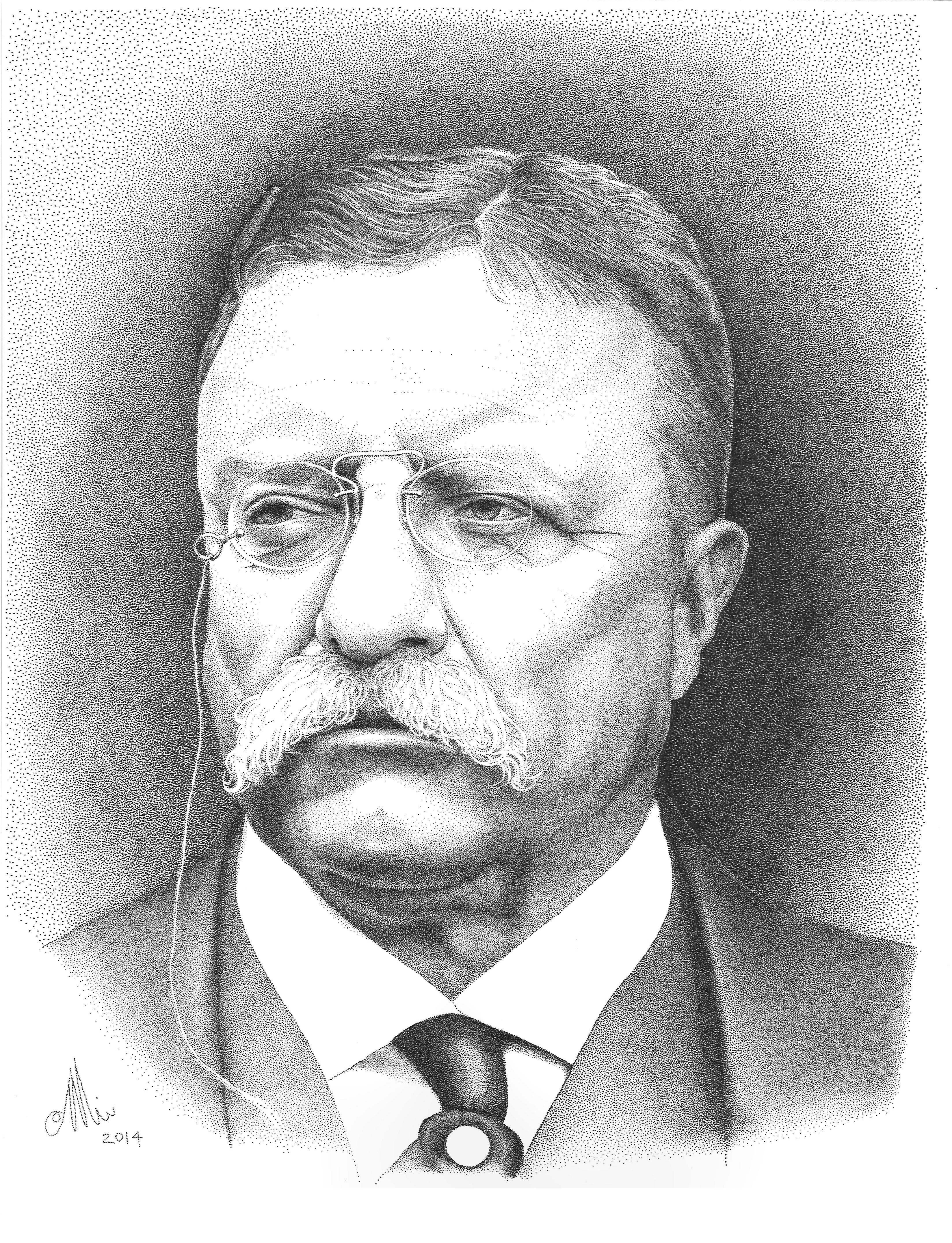 Stipple Portrait Of President Theodore Roosevelt