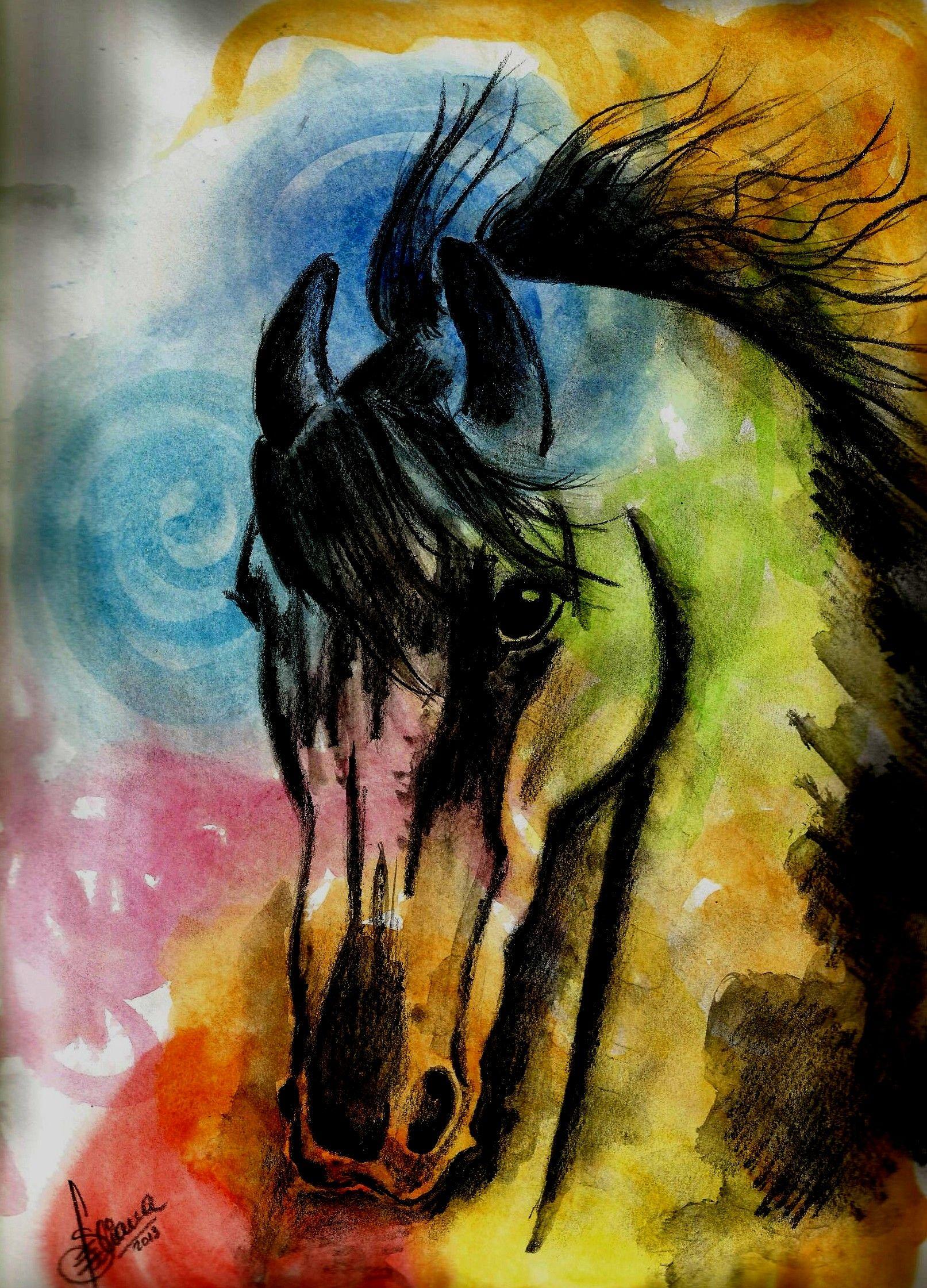 lámina de caballo pintado en acuarela