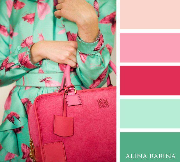 Menta y rosa Colores Pinterest Menta, Combinaciones y De colores