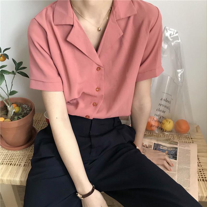 Camisas De Manga Corta De Neploe Para Mujer Moda Coreana Blusa De Chifon De Cuello Vuelto Solido Casual Modis So Ropa Estetica Vintage Ropa Hombre Ropa Koreana