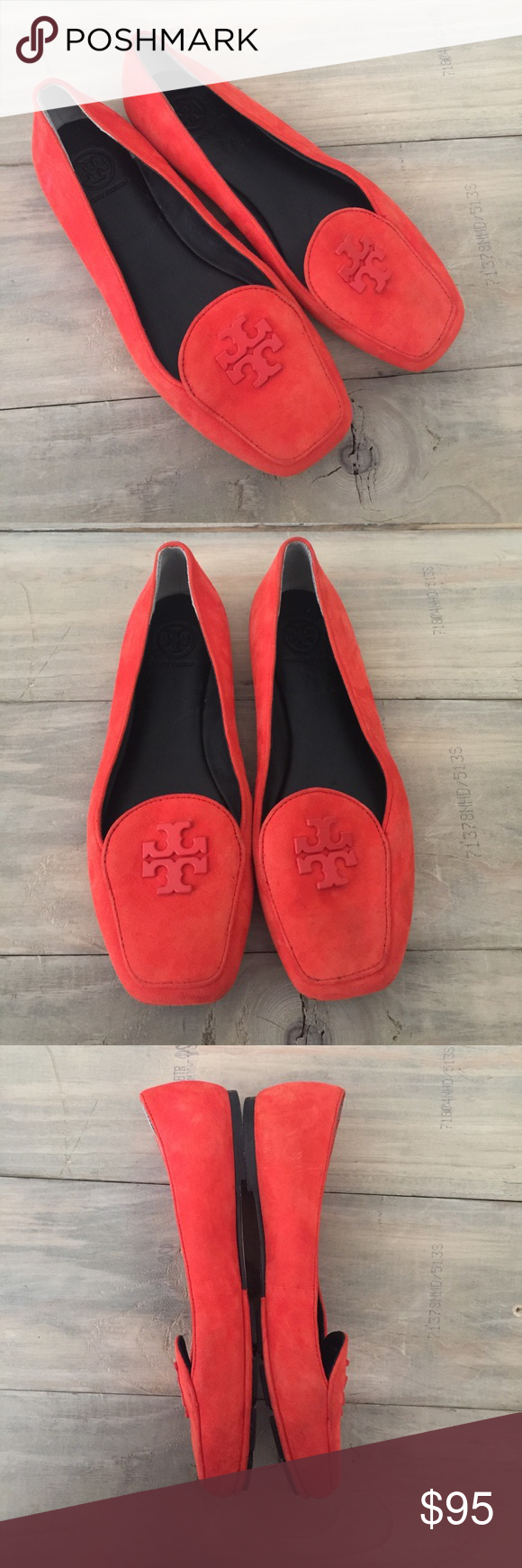 57373b67c480ac Tory Burch fitz poppy red suede loafer logo flats Excellent used condition
