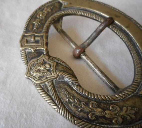 Large VINTAGE  Thistle Flower & Belt Design Metal BELT by abandc