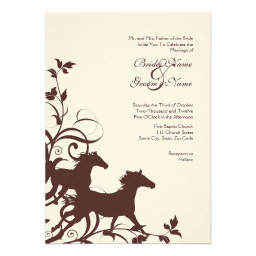 Brown And White Wild Horses Wedding Invitation Western Wedding