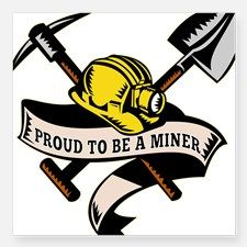 d21205ed67a coal miner mining Square Sticker for