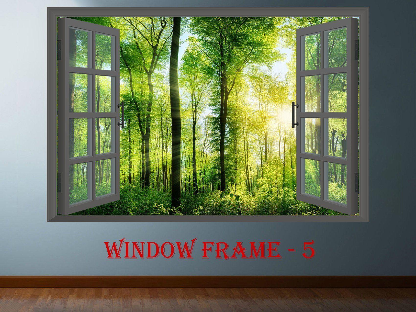 3D Effect Window WALL STICKERS Palm Beach Sticker Vinyl Decal Decor Mural 40