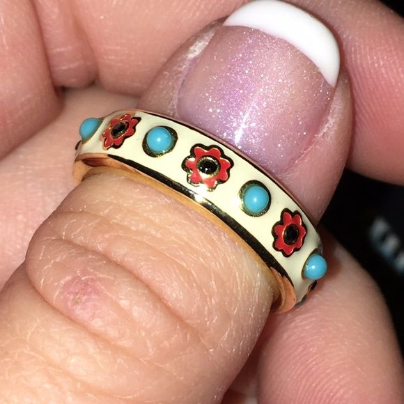 Coach Gold Bohemian ring Coach gold plated and enameled Aztec ring, size 6 Coach Jewelry Rings