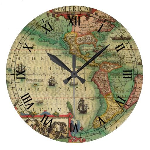 Antique Old World Map Of The Americas 1606 Square Wall Clock Zazzle Ca Old World Maps Clock Antique World Map