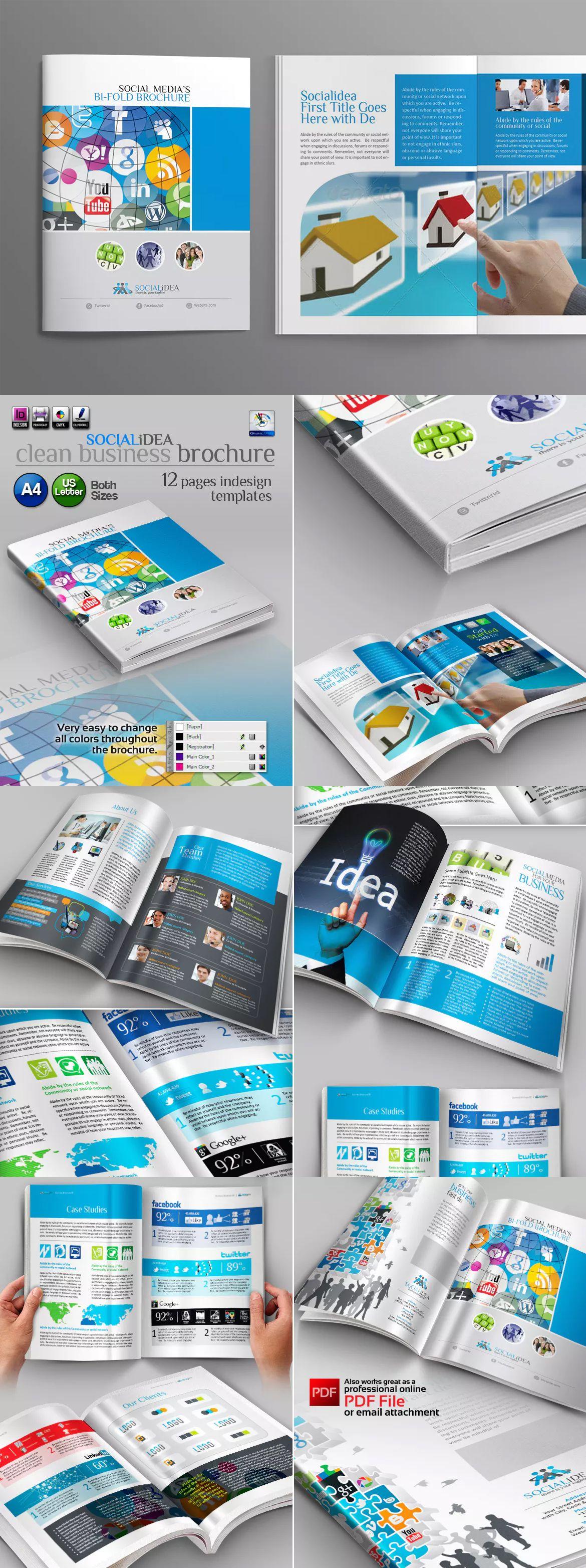 Social Media Brochure Template InDesign INDD - A4 & US Letter Size ...