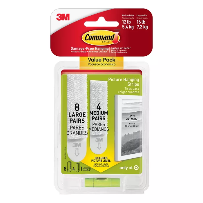 Command 4 Sets Of Medium 8 Sets Of Large And Medium Sized Picture Hanging Strips White Target In 2020 Picture Hanging Picture Frame Hangers Hanging Pictures