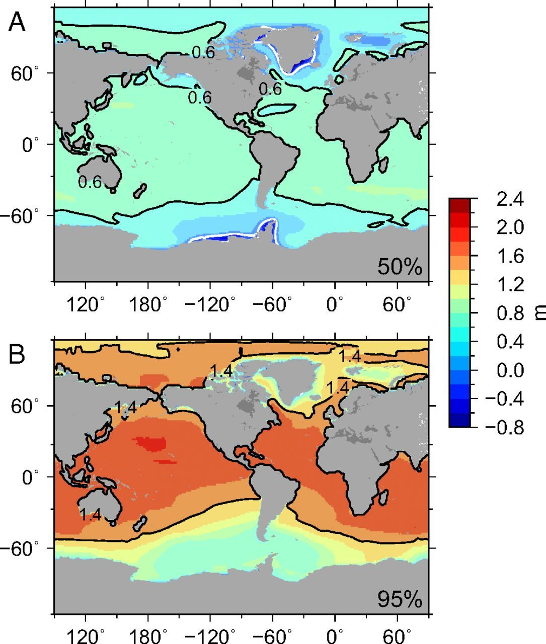 Regional sea level rise under 2 and 5 degree temperature scenarios regional sea level rise under 2 and 5 degree temperature scenarios map climatechange gumiabroncs Gallery