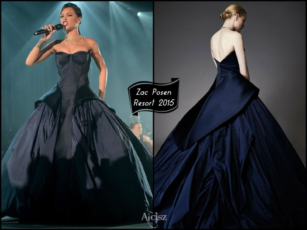 Rihanna in zac posen resort 2015 midnight blue duchesse for Midnight blue wedding dress