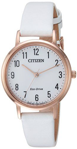 75dd0af8c53a7c Citizen Womens EcoDrive Quartz Stainless Steel and Leather Casual Watch  ColorWhite Model EM057302A * Details can be found by clicking on the image.
