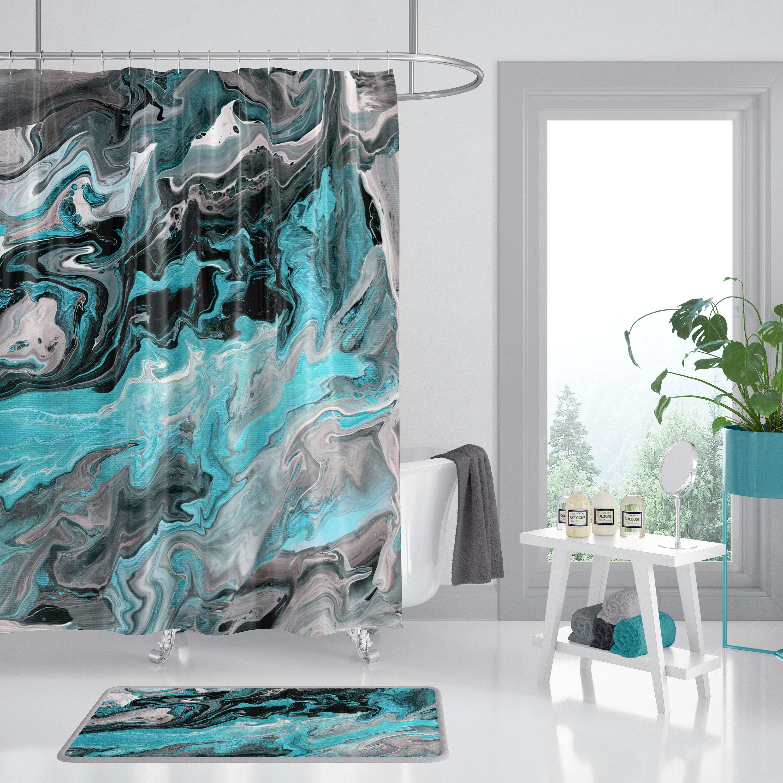 black marble shower curtain silver vein