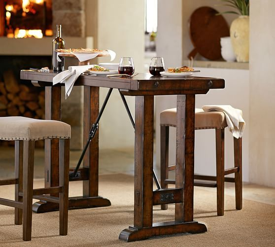 Benchwright Bar Height Table Rustic Mahogany Dining Room