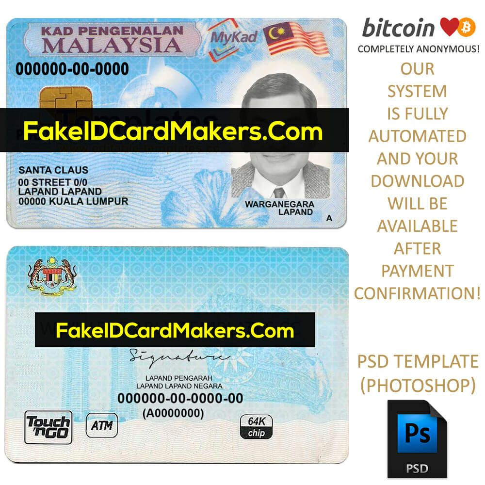 The Charming Malaysia Id Card Template Psd Editable Fake Download For Fake Social Security Card Template D Id Card Template Card Template Recipe Cards Template