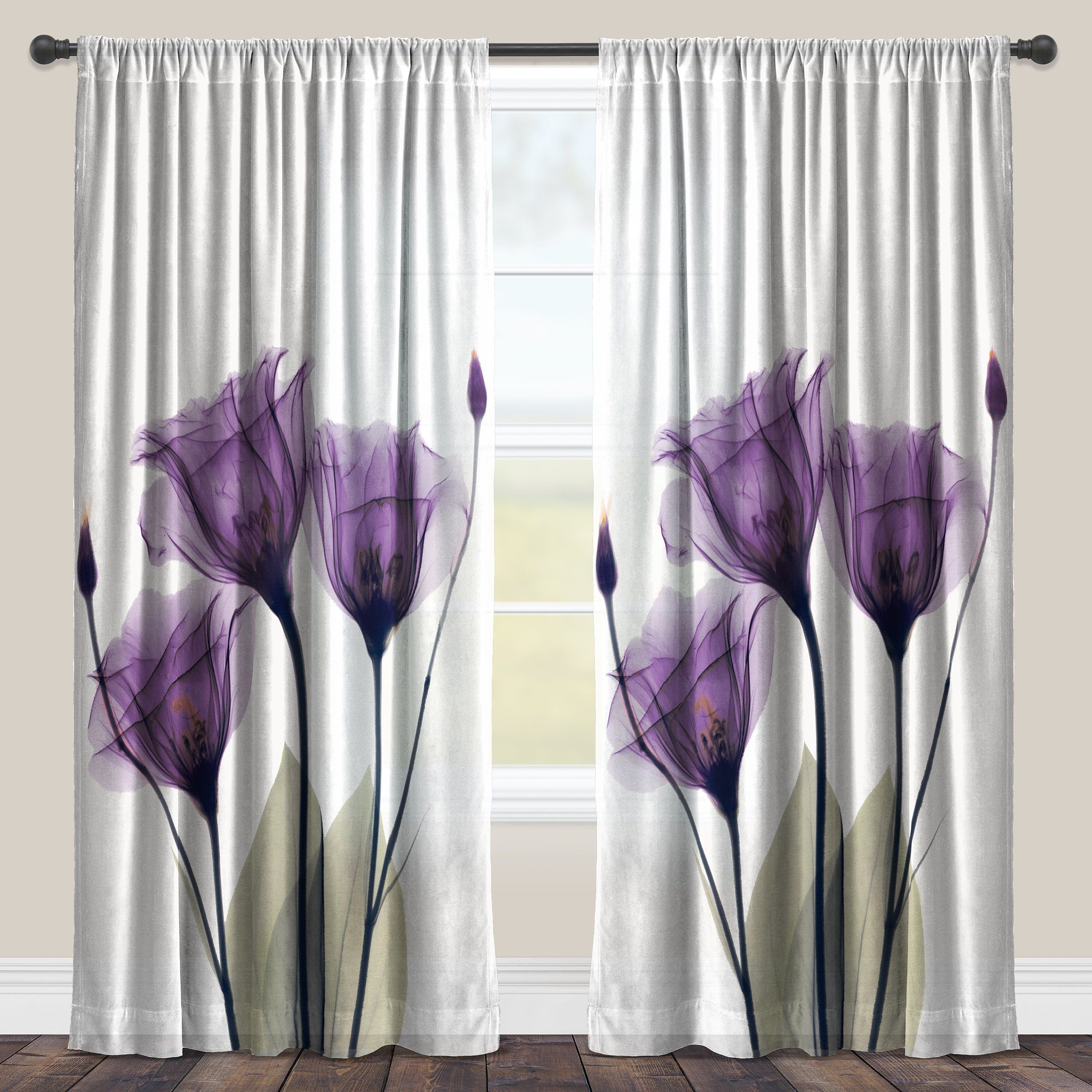 Laural Home Lavender Floral X Ray Sheer Curtain Panel 84 Single