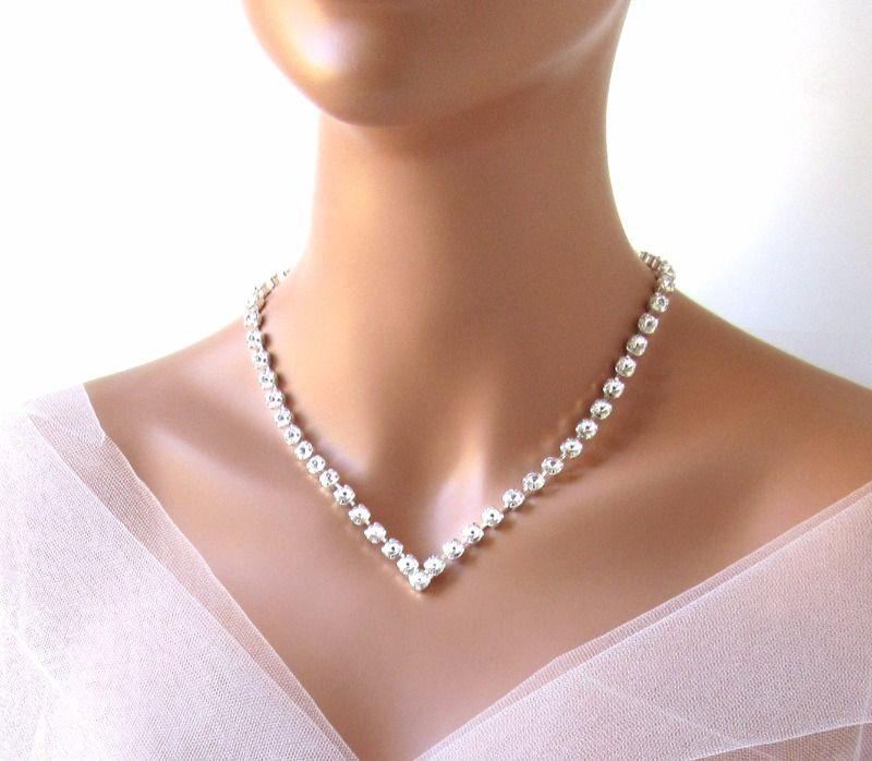 f7ff616d1c456b Clear Swarovski Crystal Rhinestone Bridal Necklace