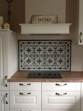Küche Schutzwand zementfliesen als spritzschutz küche spritzschutz