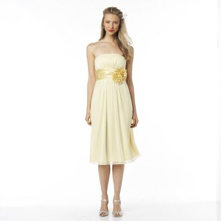 JOLIE Strapless Chiffon Bridesmaids Dress With Floral Waistband