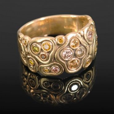"""ALEX SEPKUS 18K YELLOW GOLD """"SWIRLING WATER"""" MULTI-COLOR NATURAL DIAMOND RING"""