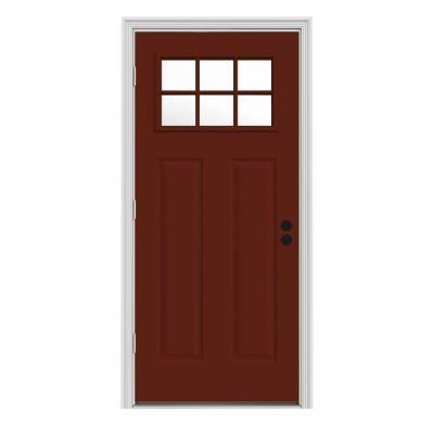 Jeld Wen Craftsman 6 Lite Painted Steel Entry Door With Brickmold Thdjw182500036 The Home Depot Steel Entry Doors Steel Doors Exterior White Interior