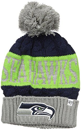 e2cd29212cc NFL Seattle Seahawks Womens 47 Swanson Cuff Knit Beanie with Pom One Size Light  Navy    Read more reviews of the product by visiting the link on the image.
