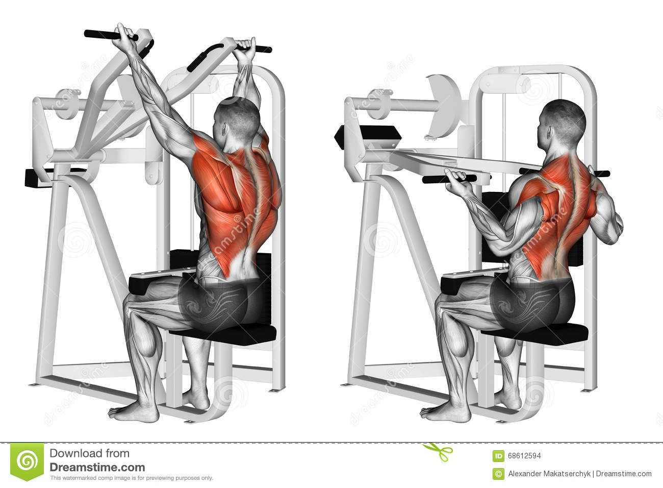 Exercising Reverse Grip Machine Lat Pulldown Download