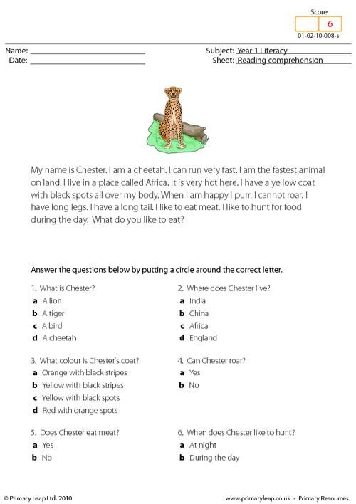 PrimaryLeap Reading Prehension I Am A Cheetah