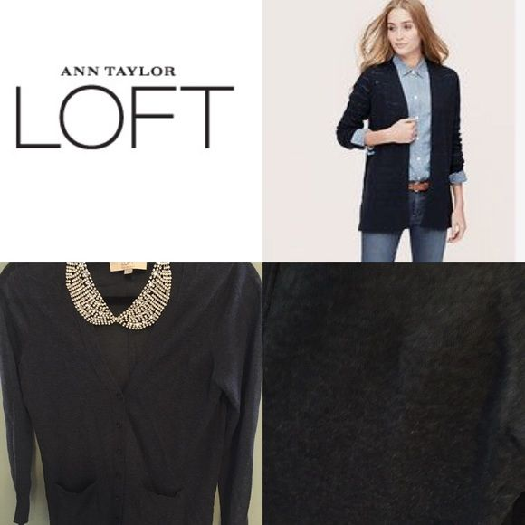 LOFT- Medium light weight navy/blue cardigan | Navy blue cardigan ...